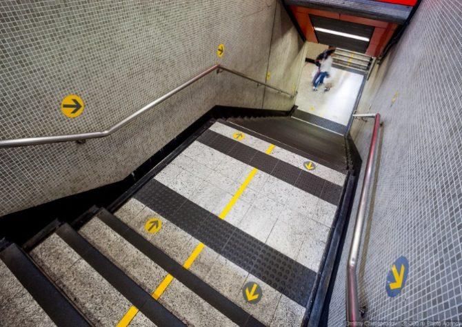 Тактильная полоса для инвалидов внутри здания